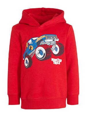 hoodie met printopdruk rood/wit/blauw