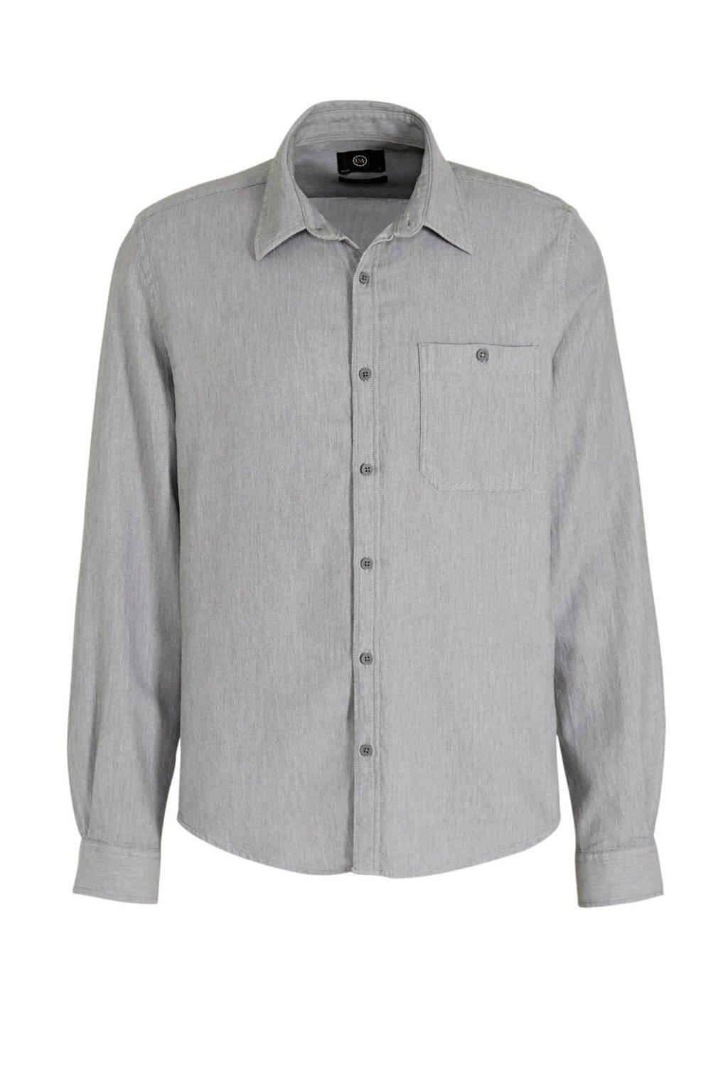 C&A Angelo Litrico gemêleerd slim fit overhemd lichtgrijs, Lichtgrijs