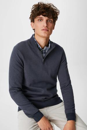 trui met overhemd donkerblauw