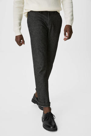 gemêleerde regular fit chino zwart