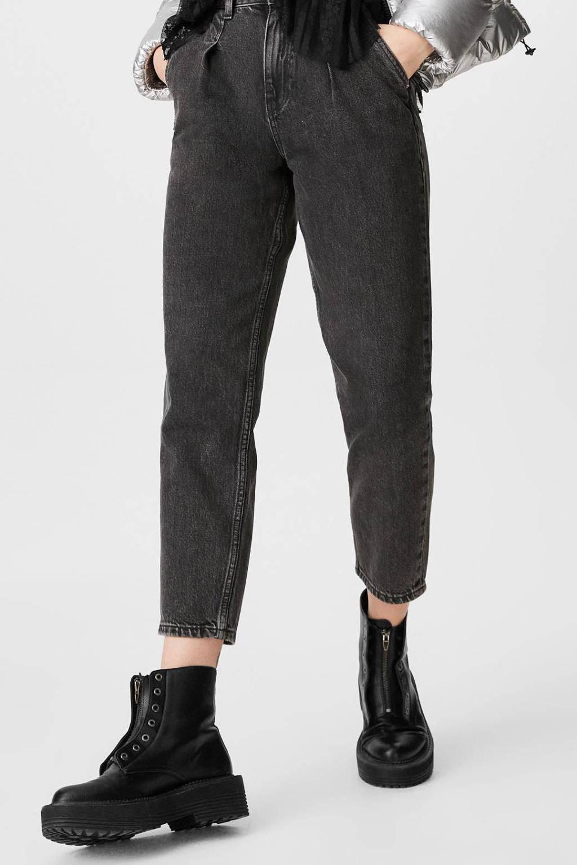 C&A Clockhouse cropped high waist mom jeans zwart, Zwart