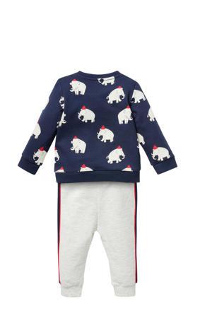 sweater + joggingbroek donkerblauw/beige/rood