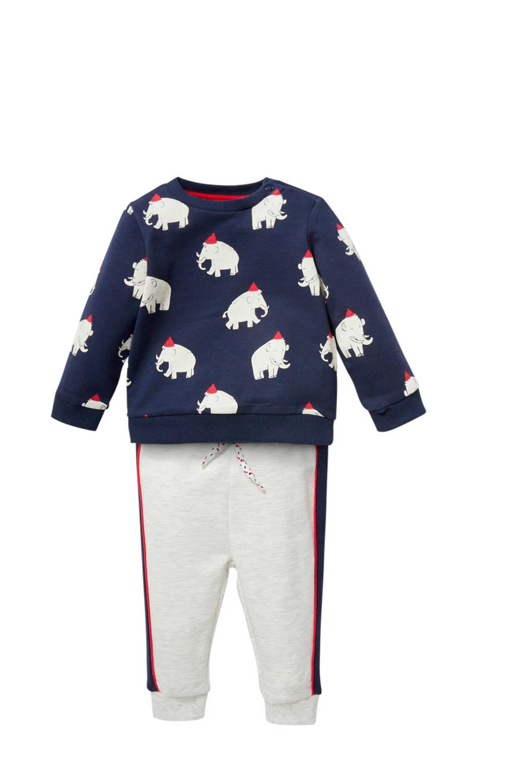 C&A Baby Club sweater + joggingbroek donkerblauw/beige/rood, Donkerblauw