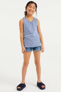 WE Fashion gestreepte singlet blauw/wit, Blauw/wit