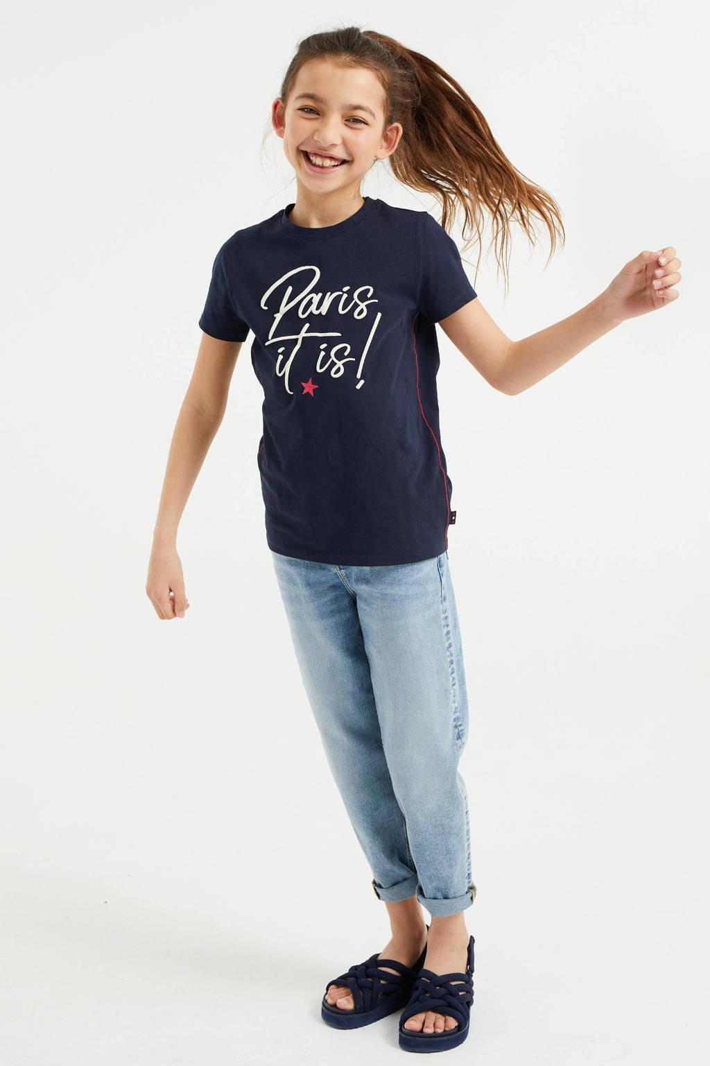 WE Fashion T-shirt met tekst donkerblauw, Donkerblauw
