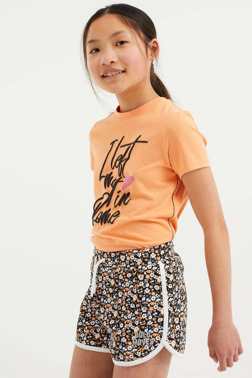 WE Fashion T-shirt met tekst licht oranje, Licht oranje