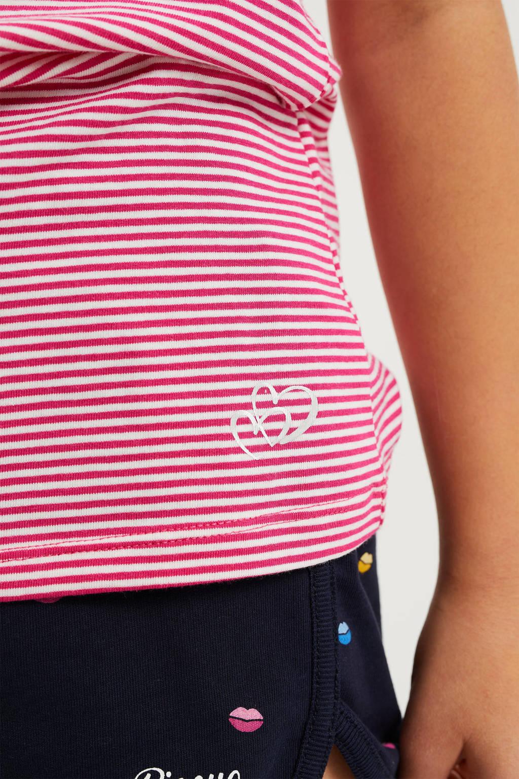 WE Fashion gestreepte singlet roze/wit, Roze/wit