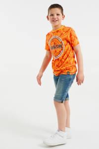 WE Fashion T-shirt met tekst oranje/zwart/wit, Oranje/zwart/wit