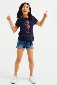 WE Fashion T-shirt met printopdruk en pailletten donkerblauw/oranje/wit, Donkerblauw/oranje/wit