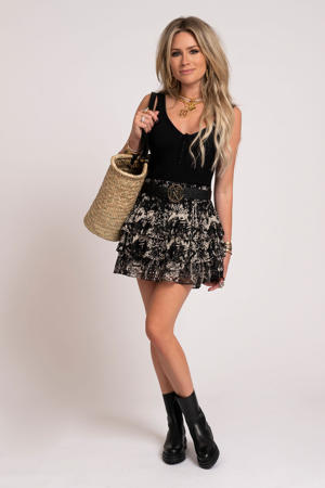 mini rok Fay-Lee met all over print en volant zwart