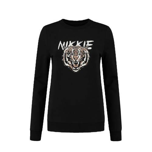 NIKKIE sweater Tiger met printopdruk zwart