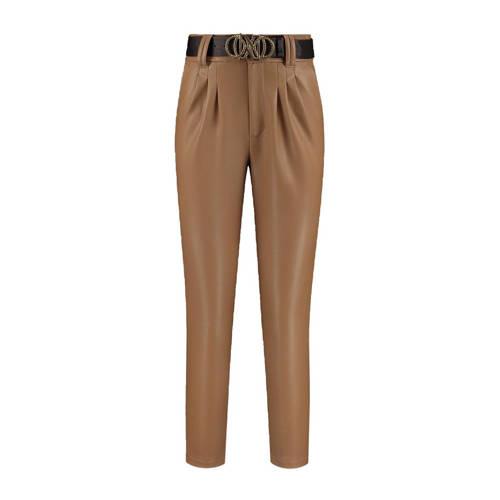 NIKKIE imitatieleren cropped high waist tapered fit broek Mikaela bruin