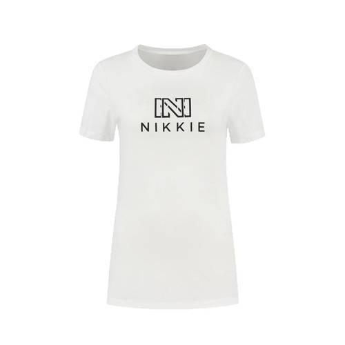NIKKIE T-shirt Outline met logo wit