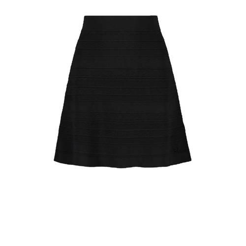 NIKKIE fijngebreide A-lijn rok Karla met textuur zwart
