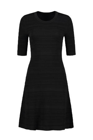 fijngebreide jurk Karla met textuur zwart