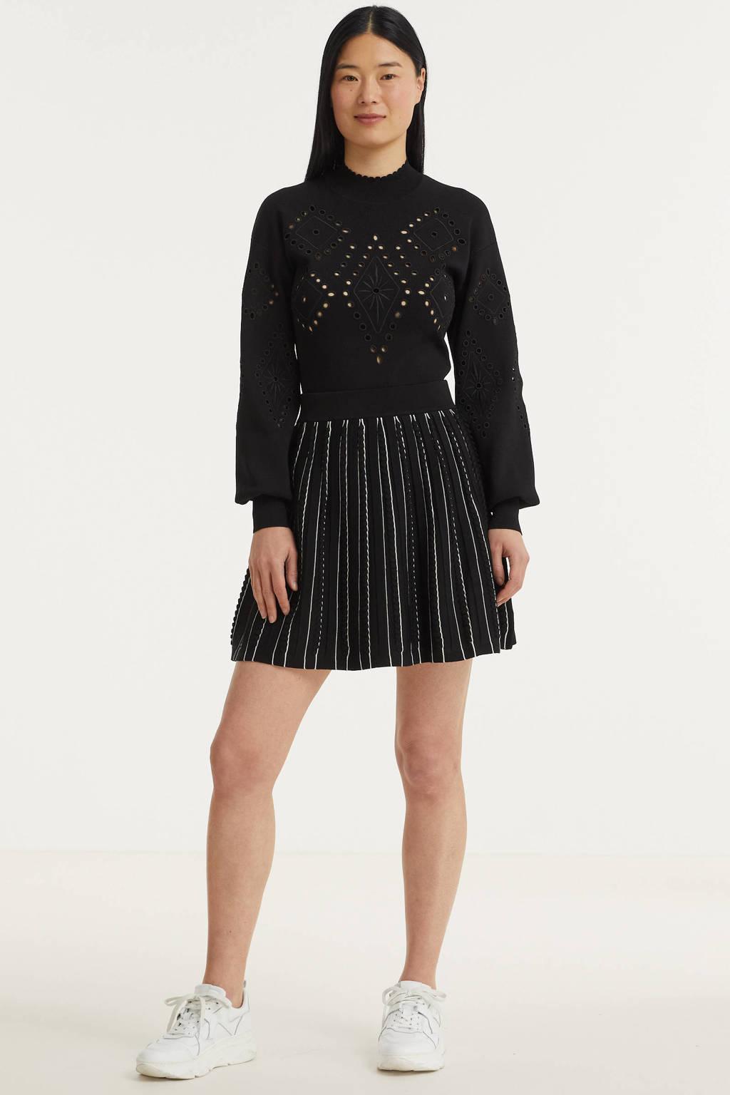 NIKKIE rok Puck met plooien zwart/wit, Zwart/wit