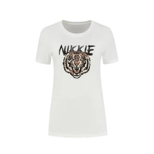 NIKKIE T-shirt Tiger met printopdruk wit