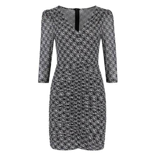 NIKKIE jurk met all over print zwart/wit