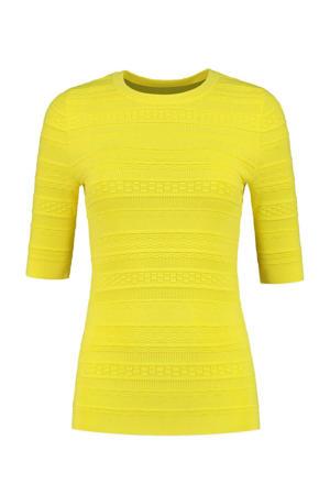 fijngebreide basic top Karla met textuur geel