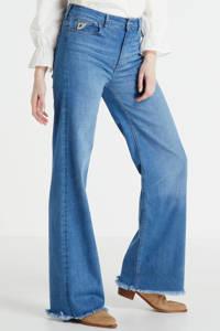 Lois high waist loose fit jeans 2426 Palazzo Edge 6415 Lecross Saphire teal cross, Teal Cross