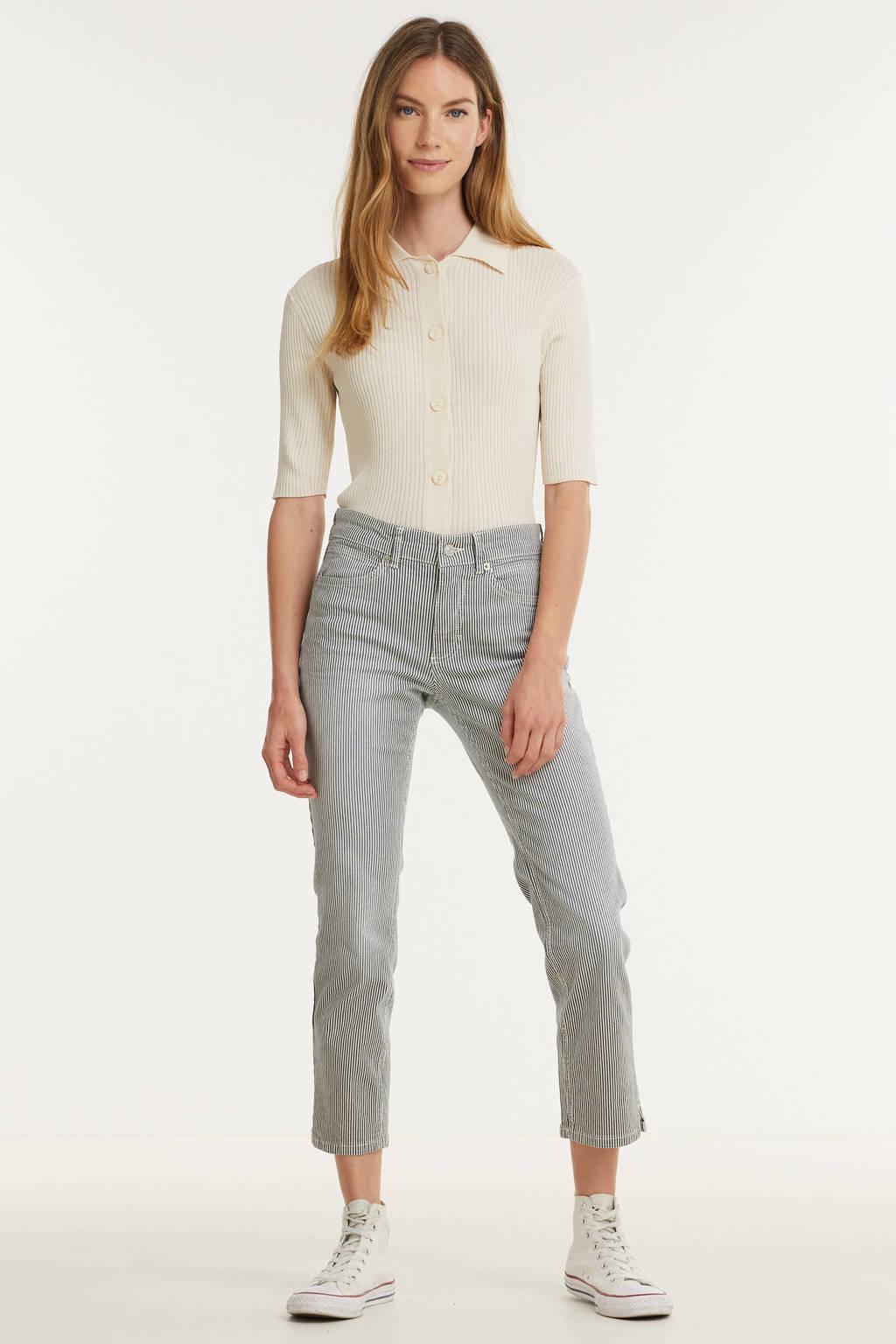 MAC gestreepte cropped slim fit jeans Angela 7/8 d467  summer blue stripe, D467  summer blue stripe