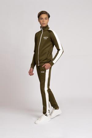 vest Rodney met contrastbies donkergroen/offwhite