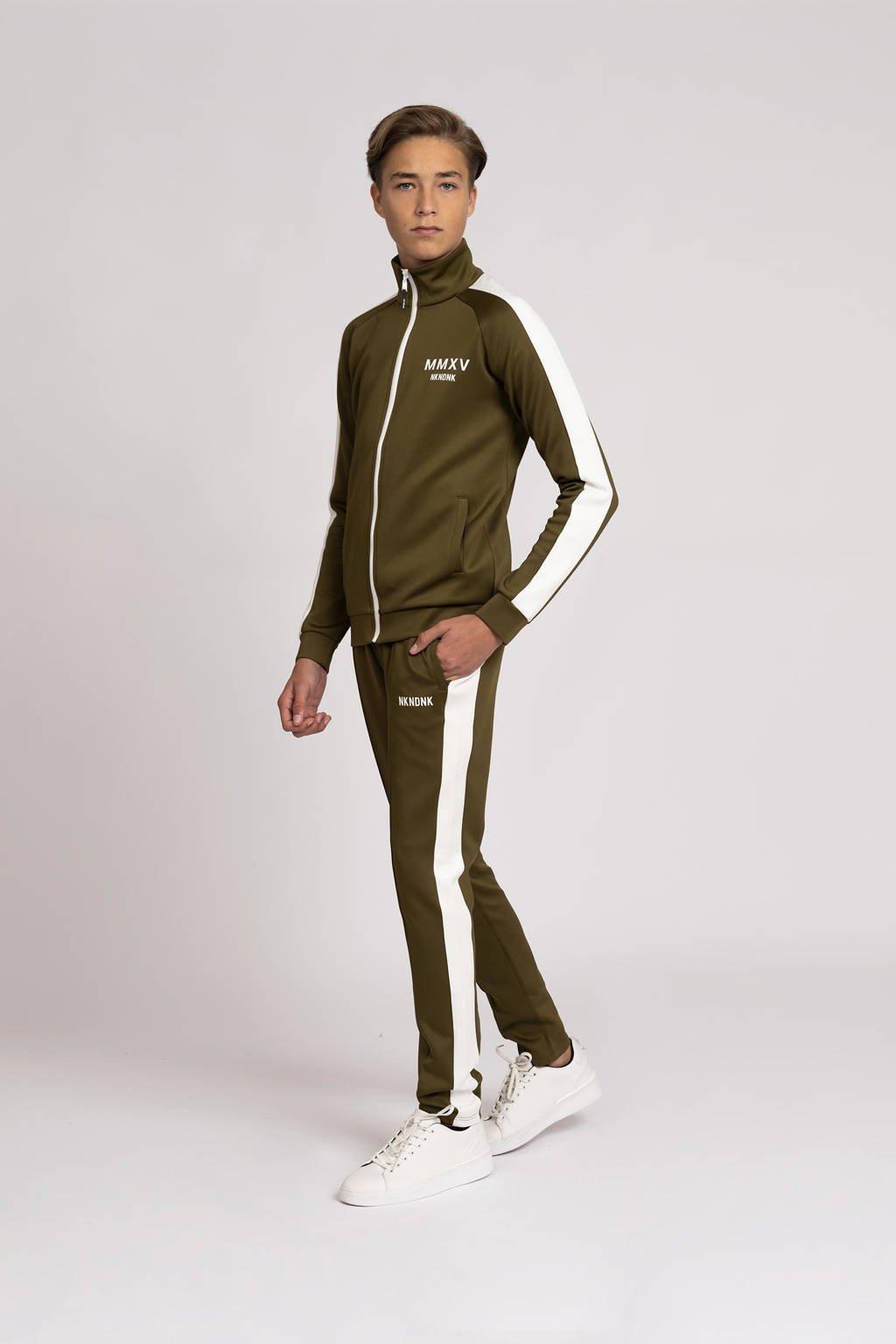 NIK&NIK broek Rodney met zijstreep donkergroen/offwhite, Donkergroen/offwhite