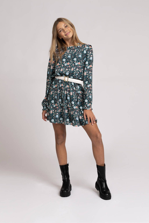 NIK&NIK gebloemde jurk Tilda warm donkergroen/lichtblauw/roze, Warm donkergroen/lichtblauw/roze