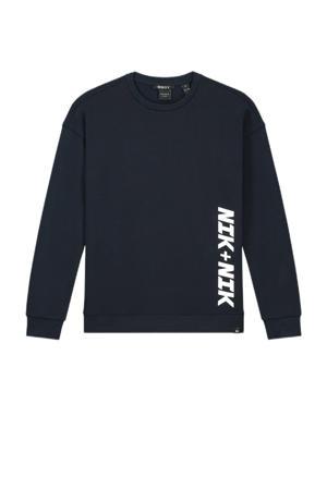 sweater Derek met logo donkerblauw