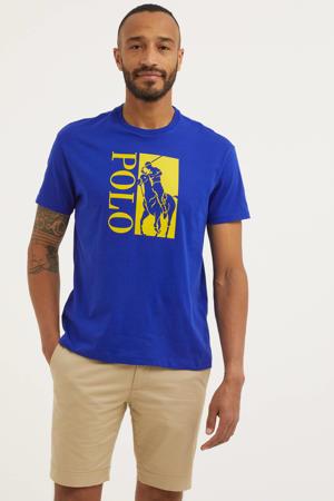 T-shirt met logo kobaltblauw/geel
