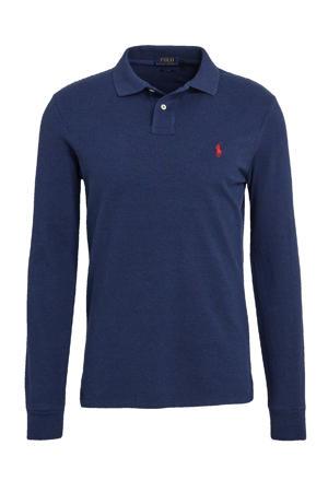 slim fit polo met logo donkerblauw