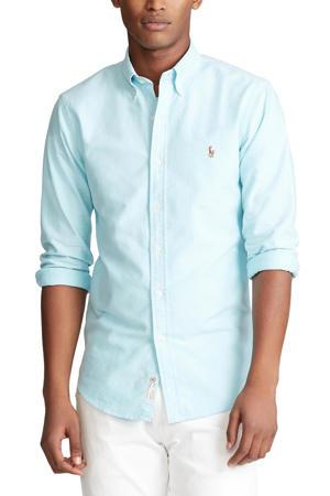 slim fit overhemd licht turquoise