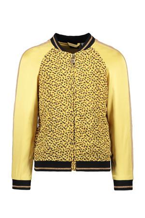 bomberjack zomer met panterprint en contrastbies geel/bruin/zwart