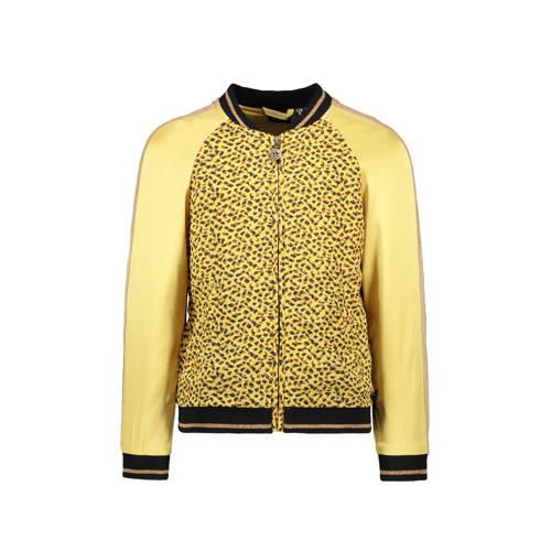 Like Flo bomberjack zomer met panterprint en contrastbies geel/bruin/zwart