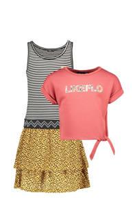 Like Flo jurk met losse top en logoprint honinggeel/zwart/roze, Honinggeel/zwart/roze