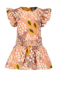 Like Flo jurk met all over print en ruches zacht oranje/multicolor, Zacht oranje/multicolor