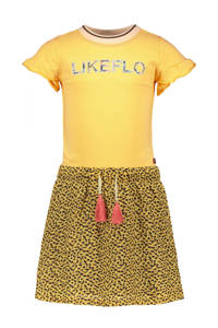 Like Flo jurk met panterprint honinggeel/zwart, Honinggeel/zwart