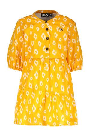 A-lijn jurk met all over print zonnebloem geel/wit