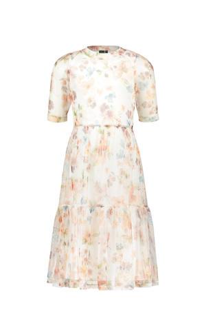 gebloemde jurk ecru/zalm/geel