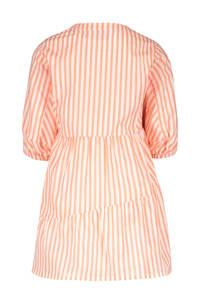 Like Flo gestreepte A-lijn jurk neon roze/wit