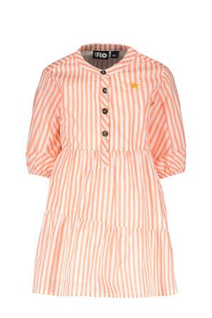 gestreepte A-lijn jurk neon roze/wit