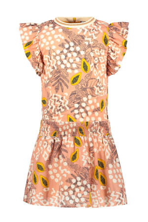 jurk met all over print en ruches zachtroze/wit/geel