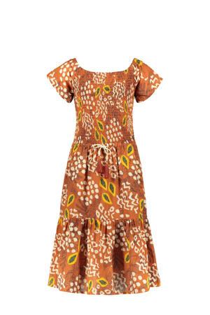 jurk met all over print en volant cognac/wit