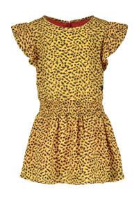 Like Flo jurk met dierenprint en ruches honinggeel/zwart, Honinggeel/zwart