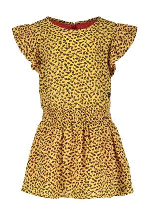 jurk met dierenprint en ruches honinggeel/zwart