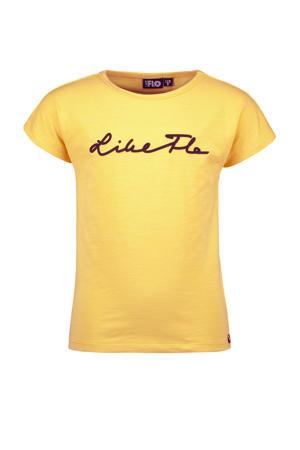 T-shirt met logo honinggeel