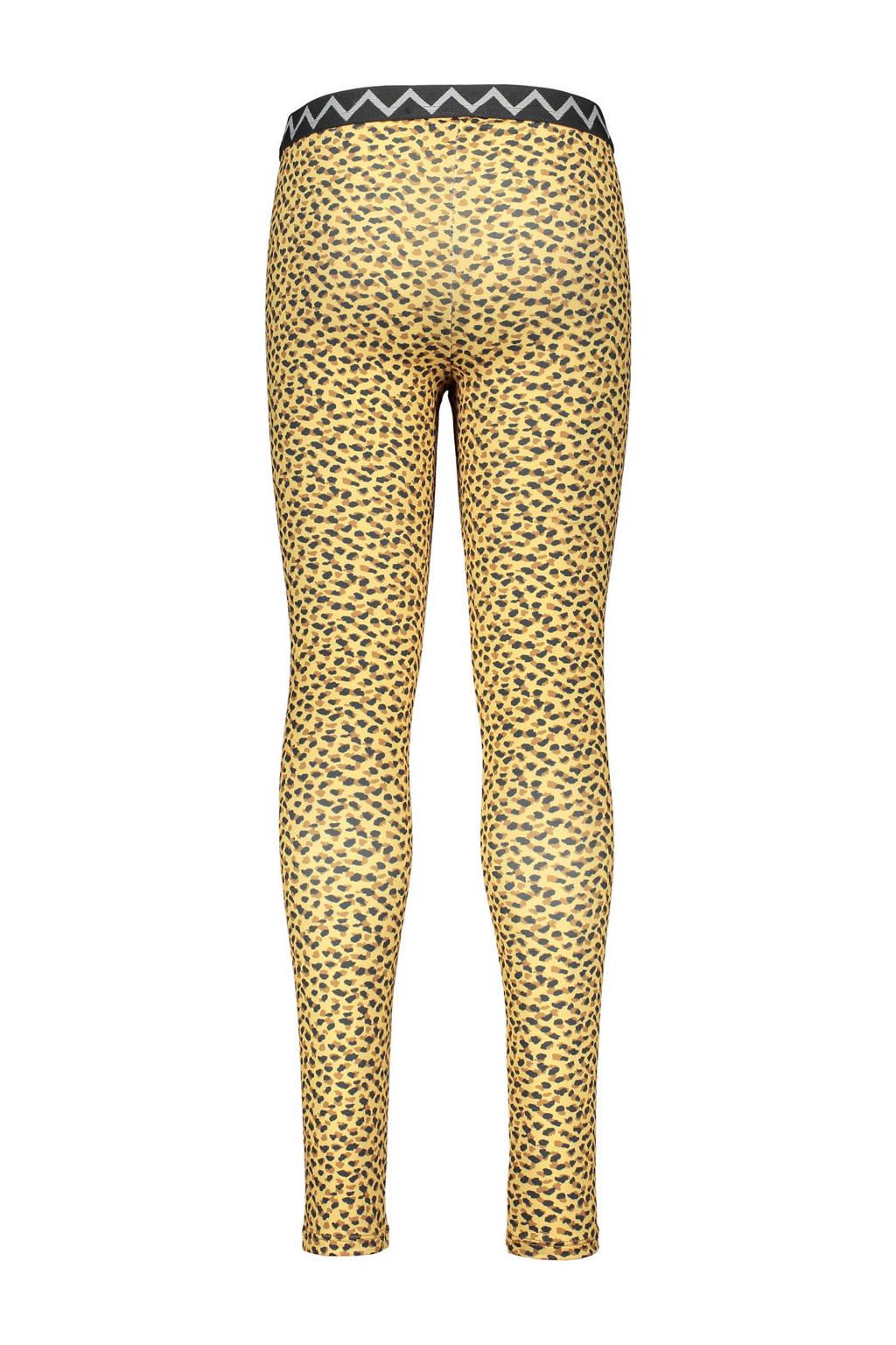Like Flo legging met panterprint geel/antraciet, Geel/antraciet