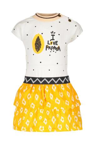 jurk met all over print en volant offwhite/geel
