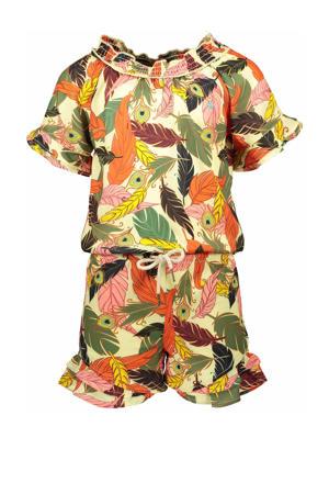 jumpsuit met all over print groen/multicolor