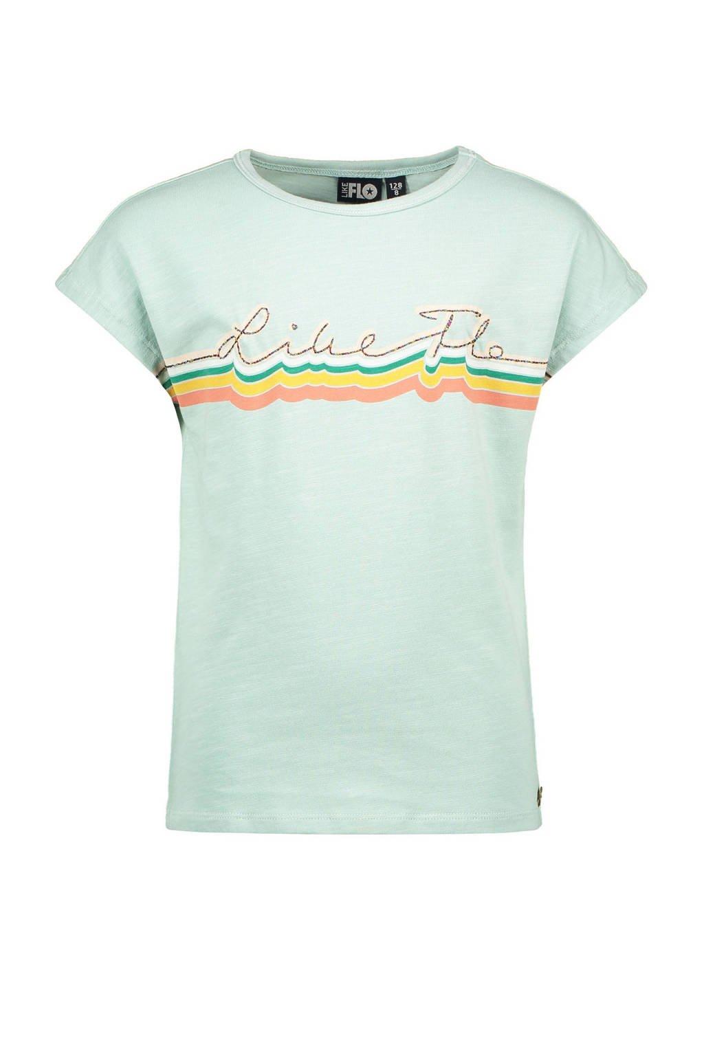 Like Flo T-shirt met printopdruk mintgroen, Mintgroen
